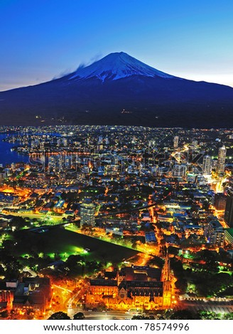 Mt Fuji and city view in twilight