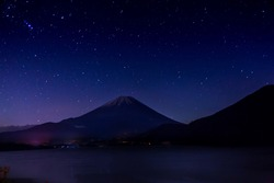 Mt. Fuji and starry sky at midnight