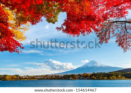 Mt. Fuji in autumn - stock photo
