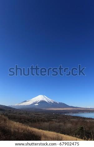 Mt.Fuji with Deep Blue sky and Lake Yamanaka