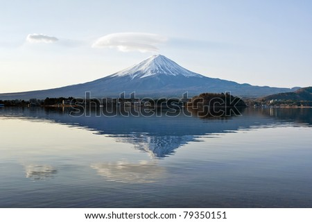 Mt Fuji with reflection on the lake
