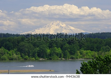 Mt. Hood rises above the Columbia River