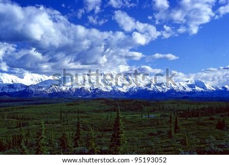 Mt Mckinley Breaking through afternoon clouds in Denali National park