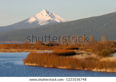 Mt. McLoughlin and Agency Lake Marsh in fall color, Sky Lakes Wilderness, Oregon, USA