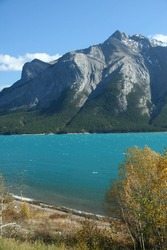Mt Michener, synclines,  and glacier fed lake