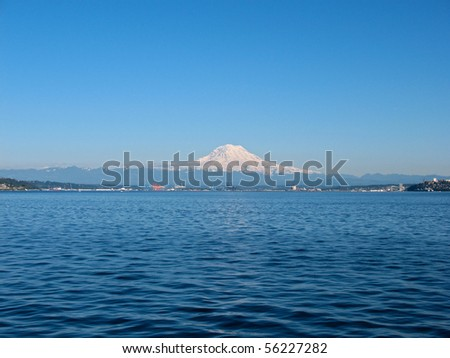 Mt. Rainier, Port of Tacoma from Puget Sound