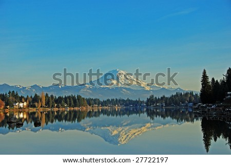Mt. Rainier reflecting in Lake Tapps, Sumner Washington.