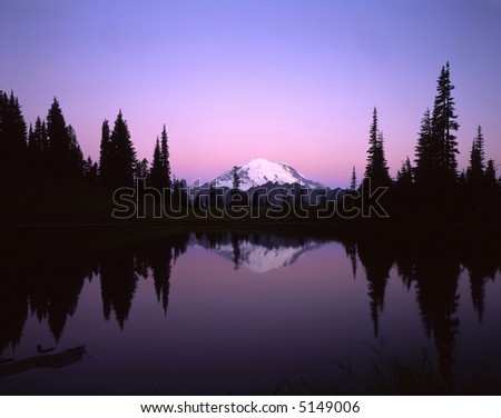 Mt. Rainier reflecting in Tipsoo Lake in Mt. Rainier National Park, Washington State.