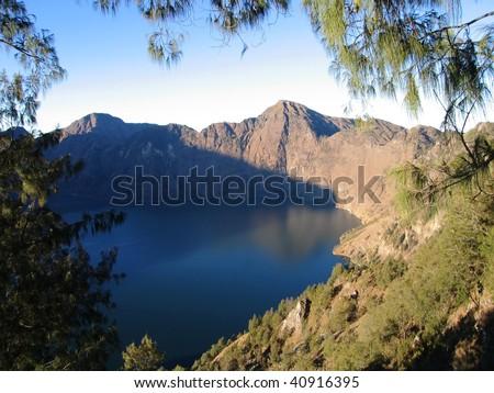 Mt. Rinjani Volcano Crater lake, Lombok, Indonesia