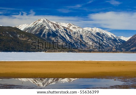 Mt. Rinker from a frozen Twin Lakes near Leadville, Colorado