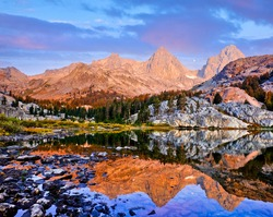 Mt. Ritter and Banner Peak Reflected in an Alpine Lake.  Ediza Lake, The Ansel Adams Wilderness, Mammoth, California