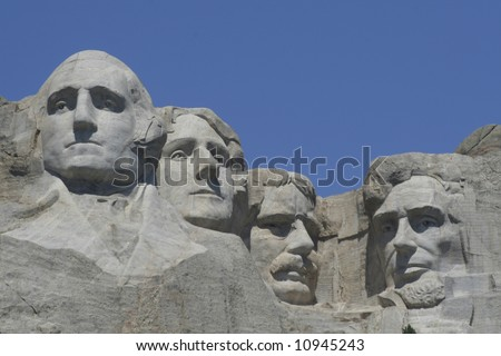 Mt Rushmore all four sculptures  on a clear summer day