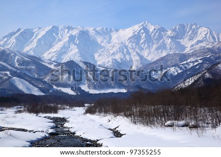 Mt. Shiroumadake, Hakuba village in winter, nagano japan #97355255