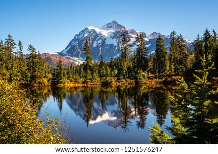 Mt. Shuksan Reflection in Autumn, Washington-USA