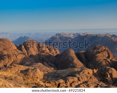 Mt. Sinai know also as Mount of the Ten Commandments or Mount of Moses. Very famous region well-known from its biblical tradition and religious pilgrimages.