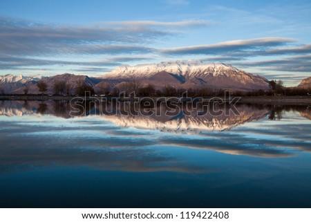 Mt Timpanogos Reflecting on Utah Lake