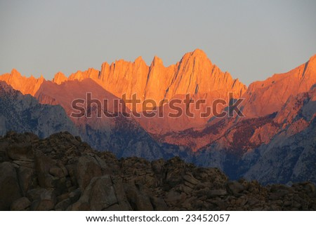 Mt. Whitney sunrise, tallest peak in 48 states.
