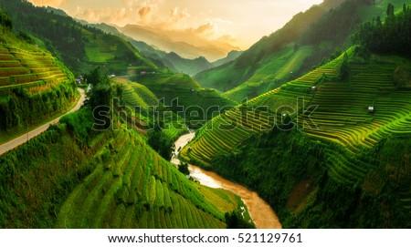 Mu Cang Chai, Vietnam landscape terraced rice field near Sapa. Mu Cang Chai rice fields stretching across mountainside in Vietnam.