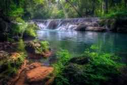 Muak Lek Waterfall, well-known and popular waterfall among tourists at Muak Lek Arboretum in Saraburi Province in Thailand.