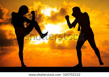 Muay thai, Thai Boxer in sunset background