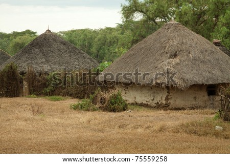 Mud and thatch huts typical of African villages