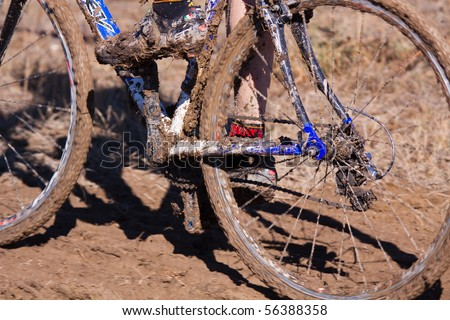 Mud build-up on cyclocross race bike