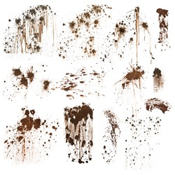 Mud splatters collection isolated