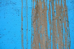 Mud Stain on Blue Paint Concrete Wall Texture Background.
