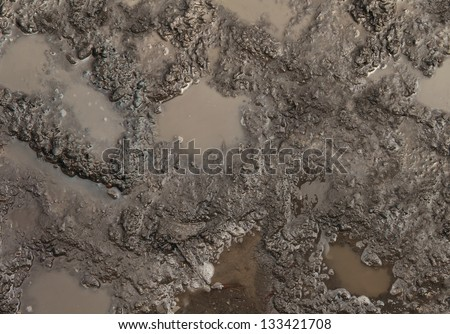 Mud texture or wet brown soil as natural organic clay and geological sediment mixture as in roughing it in a dirty muddy country road bog after the rain or rainy season found in a damp moist climate.