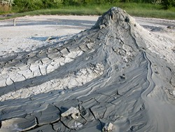 Mud volcano in the natural reserve park of Salse di Nirano. Fiorano, Italy. The Salse are gaseous hydrocarbon deposits, particularly methane.