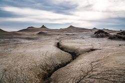 Mud volcano landscape, tectonic fault