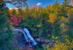 Muddy Creek Falls at Swallow Falls State Park during the Fall Season Sunset in Deep Creek Lake Region, Maryland