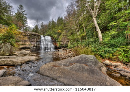 Muddy Falls waterfall in Autumn in the Appalachian mountains of Maryland
