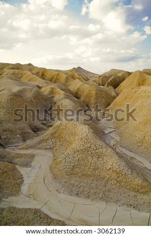 Muddy volcanoes landscape - stock photo