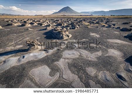 Mudflats close to Lake Natron with Ol Doinyo Lengai volcano in the background; Tanzania Foto stock ©
