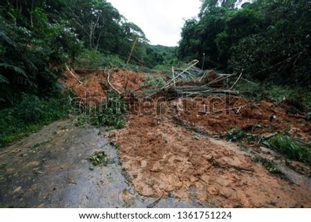 Mudslide and trees blocking a road on the coastal city of Sao Sebastiao, Brazil. Foto stock ©