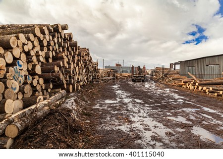 Mudy road at sawmill industrial lots… Stock Photo 401115265