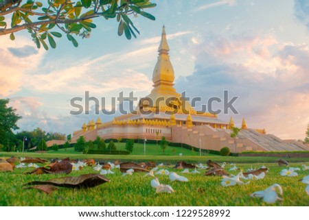 Mueng Roi Et District Roi Et province Thailand  november/10/ 2018  Maha Mongkol Bua Pagoda Is One of the attractions / Landmark of Roi Et. Popular with tourists.