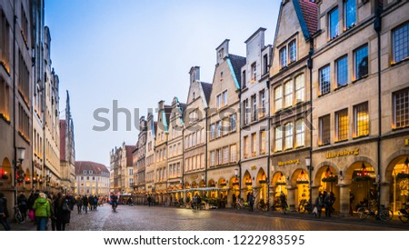 Muenster, Rhine-Westphalia / Germany - 12 06 2016: Traditional north Germany houses, buildings facade downtown Muenster, Germany. #1222983595