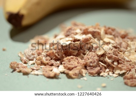 Muesli and banana portions for breakfast