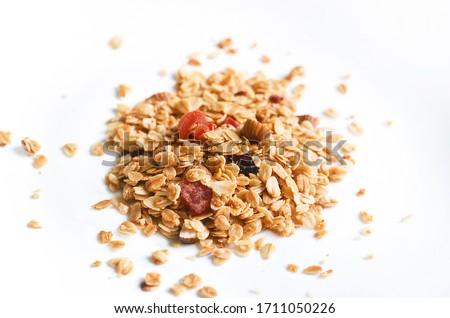Muesli, granola healthy meal on white background, healthy food  Stockfoto ©