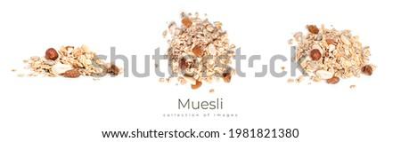 Muesli isolated on a white background. Granola isolated. High quality photo Foto stock ©