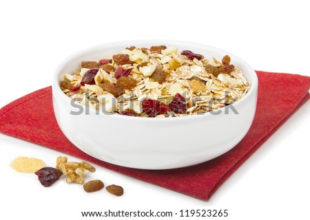 Muesli with dried fruit in bowl