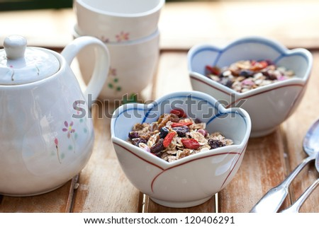 Muesli with dried fruits. Also available in vertical format.