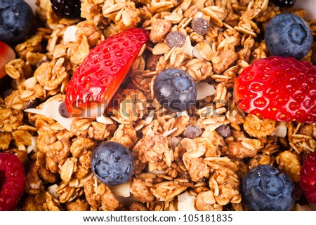 muesli with fresh fruits. macro