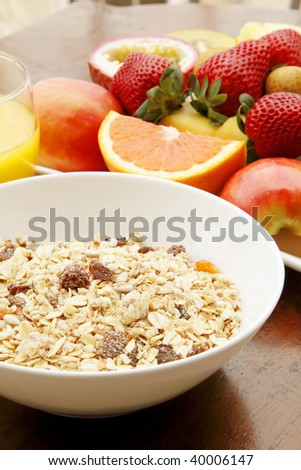 Muesli with Fresh Fruits on a Plate