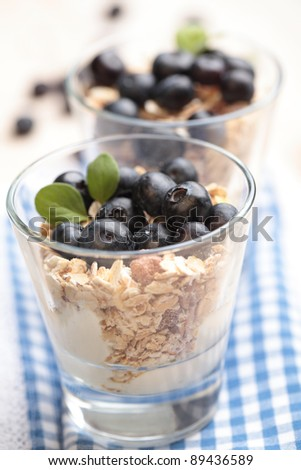 Muesli with Greek yogurt and blueberry in a glass