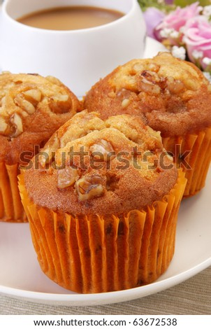 Muffin on dish on restaurant table