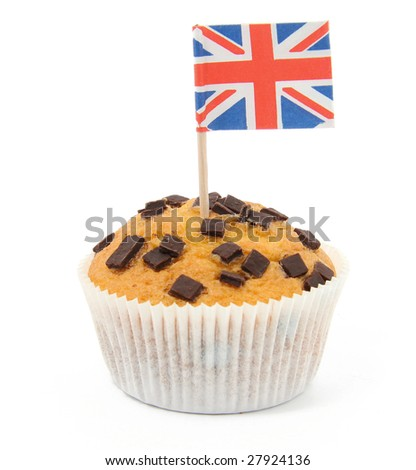 muffin with union jack flag isolated on white