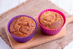 muffins in silicone cup baking cupcakes, horizontal